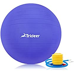 Trideer Exercise Ball (45-85cm) Extra Thick Yoga Ball Chair, Anti-Burst Heavy Duty Stability Ball Supports 2200lbs, Birthing Ball with Quick Pump (Office & Home & Gym) (Indigo Blue, 55cm)
