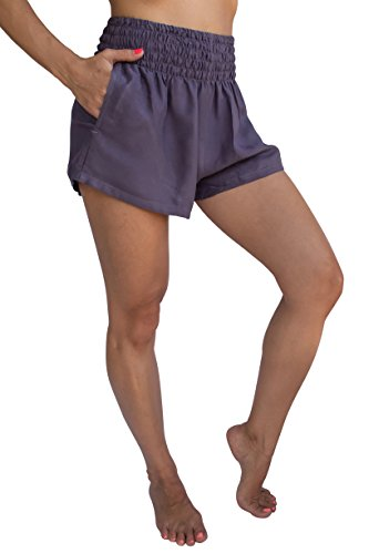 (PIYOGA Women's Casual High Waisted Shorts - Bohemian Boutique Yoga Summer Beachwear - One Size Stretches to Fit US W 0-12 (Mauve))