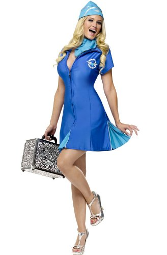 Holiday Times Unlimited Inc Women's In Flight Delight Costume Blue Medium/large (Holiday Car Costume)