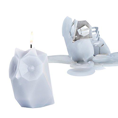 PyroPet Candles, Ugla Owl Wax Candle, Melts to Metallic Skeleton (Cool Grey)