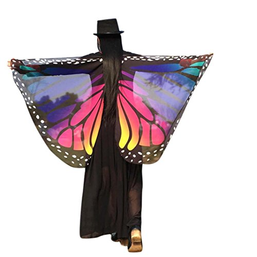 [Elevin(TM)Women New Soft Fabric Butterfly Wings Shawl Scarf Fairy Nymph Pixie Costume (14770CM, Dark] (Dark Fairy Wings Costume)
