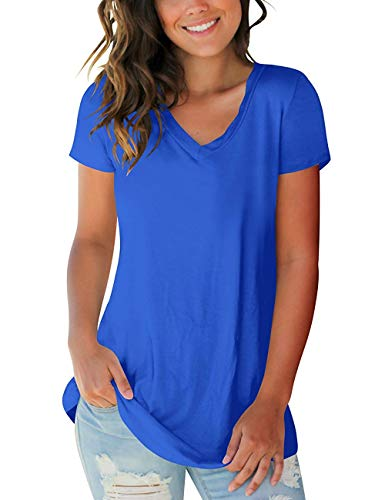 Womens Shirts Short Sleeve Slim Summer Casual Tee Tops Royal Blue