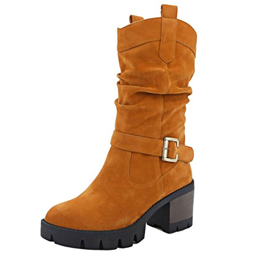 Mid Autumn Brown Slouch Calf Fashion Boots Heel Yellow Winter Women Chunky Boots KemeKiss 0WHpq4UOw