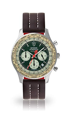 DETOMASO Firenze Mens Watch Chronograph Analogue Quartz Brown Leather Strap Green dial DT1069-B-895