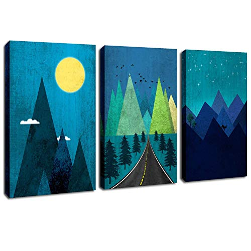 Nursery Art - Blue Canvas Wall Art Starry Night Sky Moon Prints Artwork Abstract Mountain Landscape Painting Stretched and Framed on Canvas for Bedroom Living Room Bathroom Nursery Decor 12