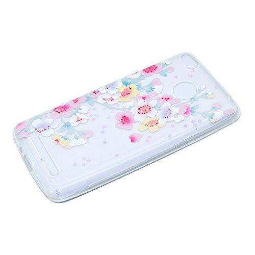 Ecoway TPU Funda Funda para Xiaomi Redmi 4X, Ultra Delgado Carcasa Antideslizante Suave Parachoques Resistente a los arañazos Contraportada Funda de silicona transparente transparente Parachoques Carc Flores de cerezo