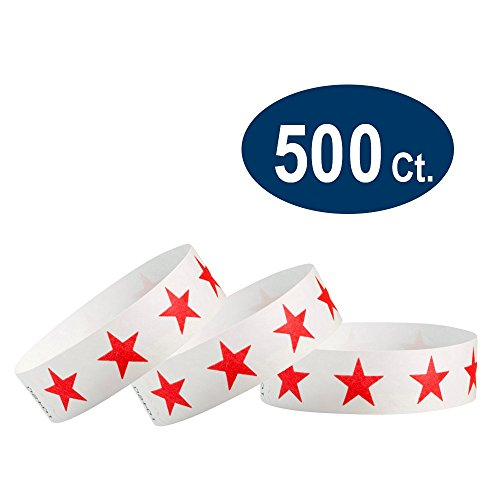 "WristCo Red Stars 3/4"" Tyvek Wristbands - 500 Pack Paper Wristbands For Events"