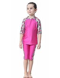 TianMai Muslim Swimsuit for Kids Girls 3 Piece Short Sleeve Modest Swimwear