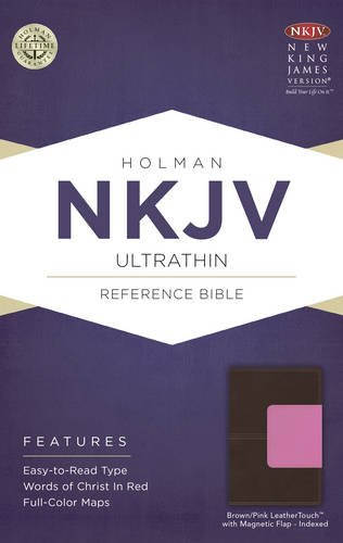 NKJV Ultrathin Reference Bible, Brown/Pink LeatherTouch with Magnetic Flap Indexed Holman Bible Staff