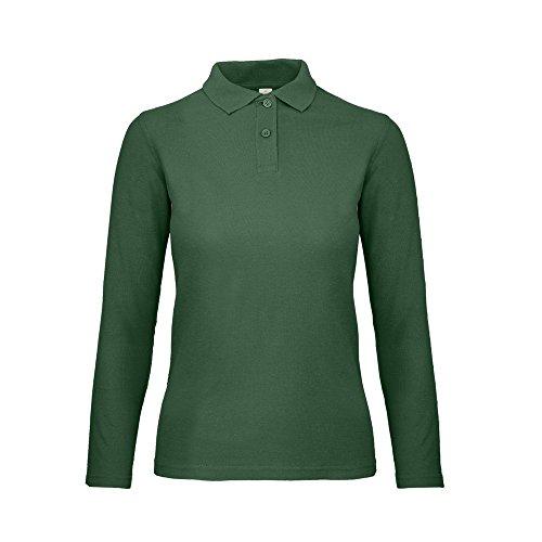 (B&C ID.001 Womens/Ladies Long Sleeve Polo (M) (Racing Green))