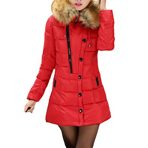 Hair Abrigo Invierno Long Coats Pocket Feather para Padded Zhhlaixing Korean Down with Winter Slim Collar Cotton Hooded Rojo Long Mujeres 0annq6w5
