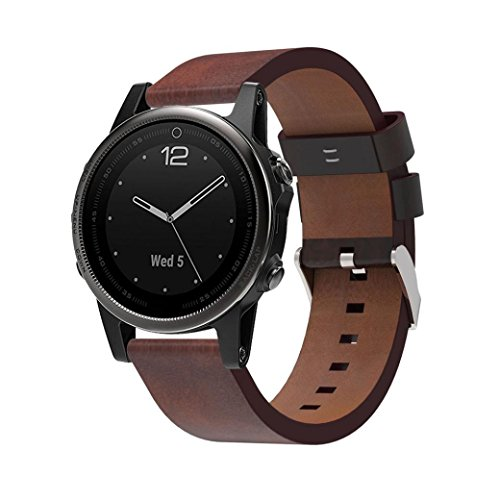 For Garmin Fenix 5S GPS Watch, Iusun Premium Leather Strap Replacement Watch Band Wrist (Brown)
