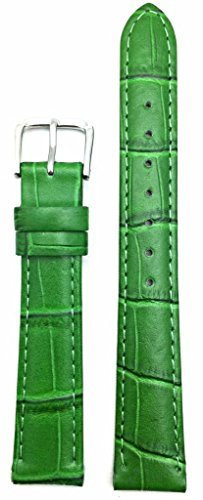 16mm Green Genuine Leather Watch Band | Square Crocodile Grained, Lightly Padded Replacement Wrist Strap That Brings New Life to Any Watch (Mens Standard Length)