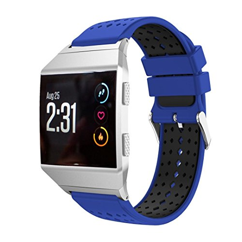 For Fitbit Ionic Band,Lightweight Silicone Bicolor Diamond Hole Replacement Wristband Smart Watch Sport Strap With Metal Connector,Esharing (Dark Blue) (Bi Retro Watch)