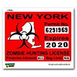 New York NY Zombie Hunting License Permit Red - Biohazard Response Team - Window Bumper Locker Sticker