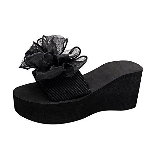 Chers Temps Femmes Floral Haut Talon Flip Flops Noir