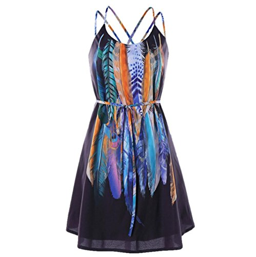 UONQD Woman Women Casual Printed Feathers Pattern Cami Strap Dress (Medium, Black)