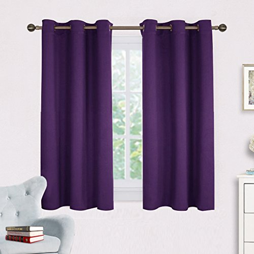 (NICETOWN Blackout Curtain Panels for Kids Room, Triple Weave Home Decoration Thermal Insulated Solid Ring Top Blackout Curtains/Drapes (Set of 2,42 x 54 Inch,Royal Purple))