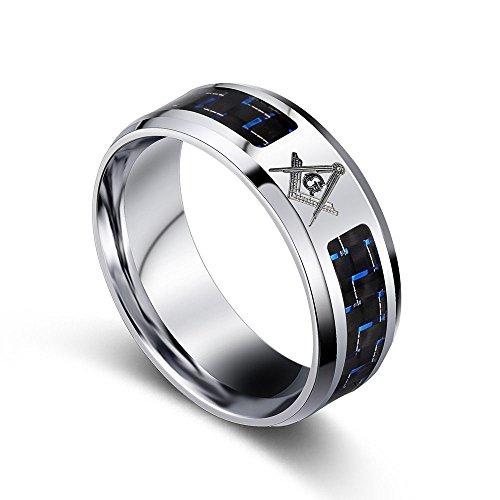 Masonic Wedding Rings (JAJAFOOK Stainless Steel Blue Carbon Fiber Inlay Masonic Freemason Symbol Wedding Ring)