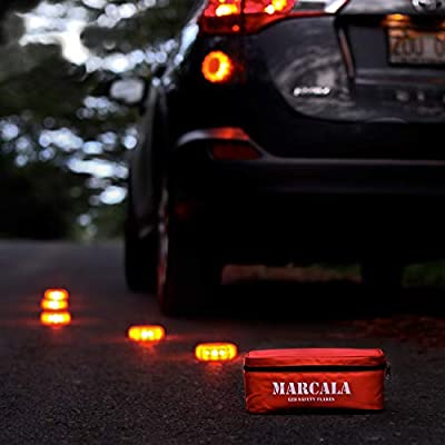 MARCALA LED Road Flares 6-Pack | The Only Roadside Safety Disc Kit with a Whistle | DOT Compliant LED Safety Flares Kit w/Batteries Installed, Carry-Case and 4 Bonus Items | Feel Safer on the Road!: Automotive