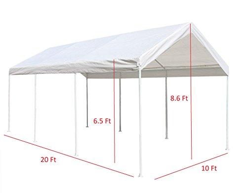 ALEKO CP1020NS Carport Garage Shelter 20 x 8.5 White