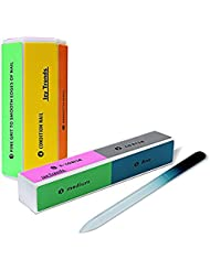 Two 8-Way Salon Quality Nail Buffers Plus 1 Authentic Czech Glass Nail File - Perfect Manicure Set - Premium Buffer Blocks With Many Options