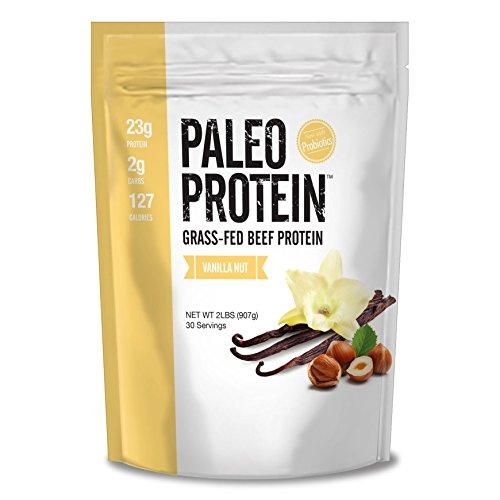 Paleo Protein Grass-Fed Beef Protein Powder with Probiotics, Vanilla Nut, 2 lbs