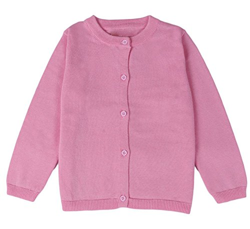 (GSVIBK Girls Cardigan Long Sleeve Crewneck Cardigans Solid Knit Button Sweater Cardigan Baby Girl 5-6Y Pink 6112)