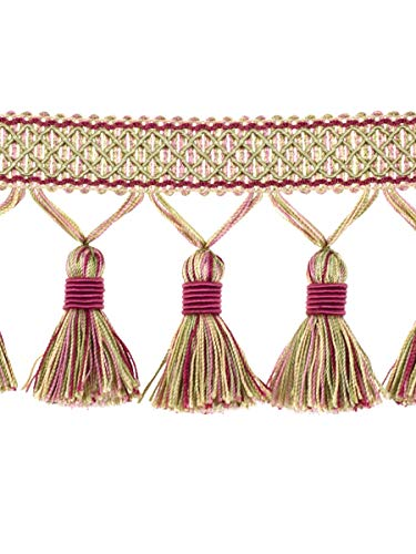 Passion Lt Green Pink Tassel Onion Ball Fringe Trimmings Upholstery Fabric by the yard