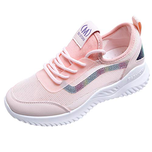 (Mysky Women Popular Casual Breathable Mesh Outdoor Comfortable Sneakers Student Wild Lace Up Sport Shoes Pink)