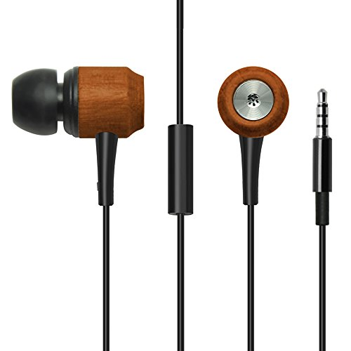 Divine Music 4 U Noise Cancelling Wood In-Ear Headphones-Earphones for Women & Men Provide Crystal Clear Stereo Sound,High Bass w/ Inline Microphone & Controls, 2 Cords (Brown and Black)