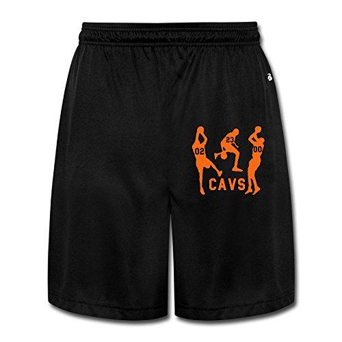 ZZYY Mens Soft Three Men Play Ball Short Pants Physical Exercise Black Size L