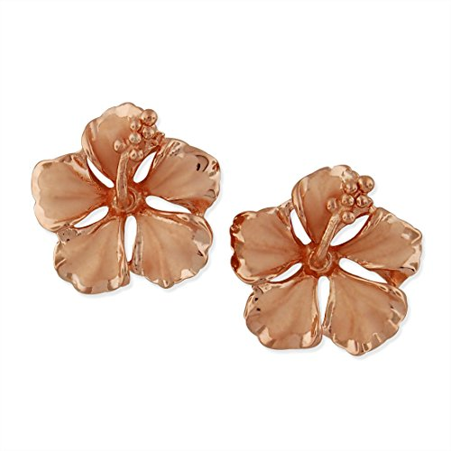 14kt Rose Gold Plated Sterling Silver 1/2 Inch Hibiscus Stud - Hibiscus Silver Ring