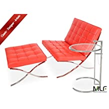 MLF Barcelona Chair & Ottoman + Eileen Gray End Table (Chair: Red Aniline Leather)(6 Combinations)