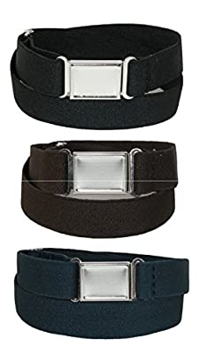CTM Kids' Elastic Stretch Belt with Magnetic Buckle (Pack of 3 Colors)