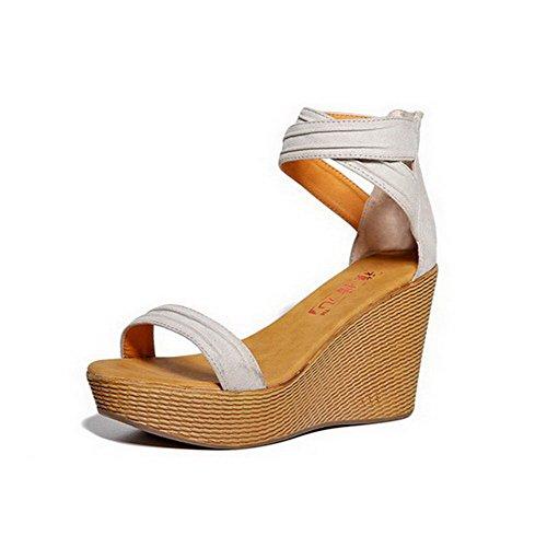 AmoonyFashion Womens Open Toe Zipper Microfiber Solid High Heels Sandals Beige Qj6bso