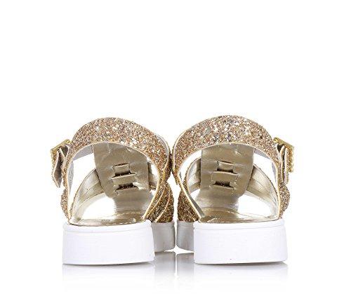 ALBERTO GUARDIANI - Goldene Sandale aus Glitzern, mit Schnallenverschluss, Mädchen, Damen