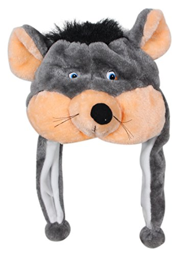 Mouse Hat - Bioterti Plush Fun Animal Hats –One Size Cap - 100% Polyester with Fleece Lining (Mouse)