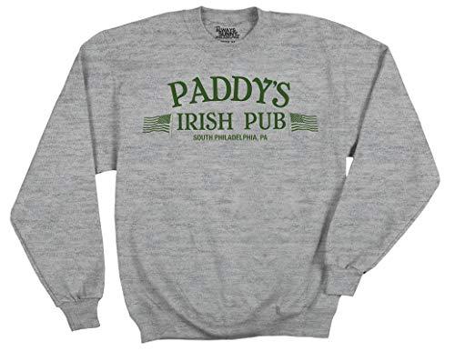 Ripple Junction It's Always Sunny in Philadelphia Adult Unisex Paddy's Pub Logo Fleece Crew Sweatshirt MD Heather Grey