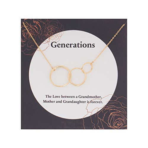 My Very Best Triple Interlocking Infinity Circles for Grandmother, Mother & Granddaughter Love Forever Mother's Day Necklace (Gold Plated Brass) ()