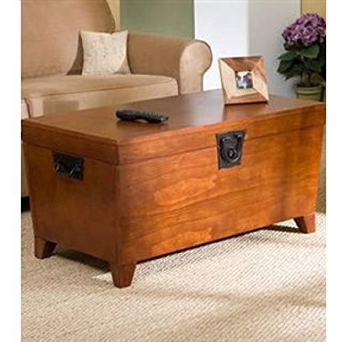 Wooden Lift Top Coffee Table Storage Trunk in Mission Oak Finish Round Square French Painted Chrome (Mission Oak Glass Table)