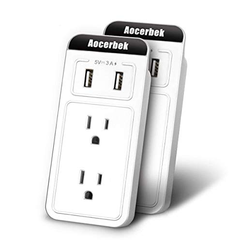 Wall Outlet Aocerbek Multi Outlet Wall Mount Adapter Surge Protector with Dual USB Charging Ports Quick Charge 3.0A 2 AC…