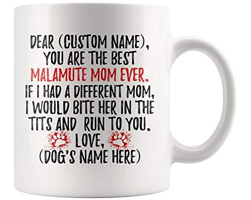 Personalized Alaskan Malamute Mom Gifts, Malamute Mommy Mug, Alaskan Malamute Owner, Malamute Dog Women Gifts, Malamute Mom Present Gift (11 oz)