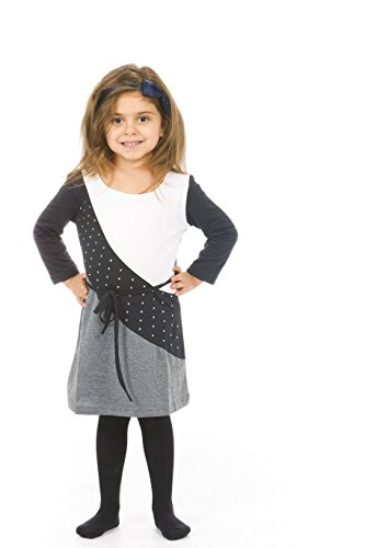 S.W.A.K Girls Long sleeves Colorblock with Rhinestuds Dress White Size 5 6 (Snow White Outfit Ideas)