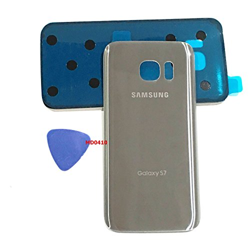 (md0410) Galaxy S7 OEM Silver Titanium Rear Back Glass Lens Battery Door Housing Cover + Adhesive Replacement For G930 G930F G930A G930V G930P G930T with adhesive and opening tool (Oem Silver Housing)