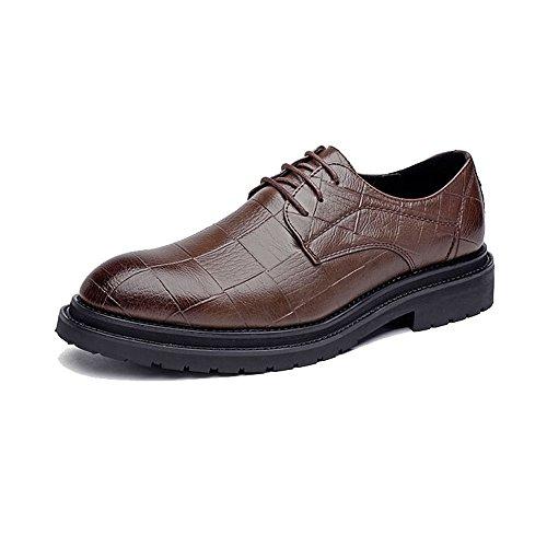 uomo Texture pelle Scarpe da Color 43 Outsole da uomo Marrone Strong shoes Pelle lacci Marrone PU classiche Scarpe Oxfords con in Uomo Stringate EU Dimensione Xiaojuan Square qpz6U