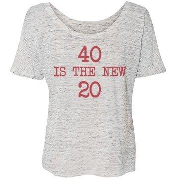 40 Is The New 20: Custom Junior Fit Cap Sleeve Baseball T-Shirt