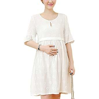 XFentech Mujer Embarazo Vestido Lactancia - Moda Imprimir Premamá Blusa Maternidad de Manga Corta Camiseta Vestidos Verano, Blanco, EU S=Tag M