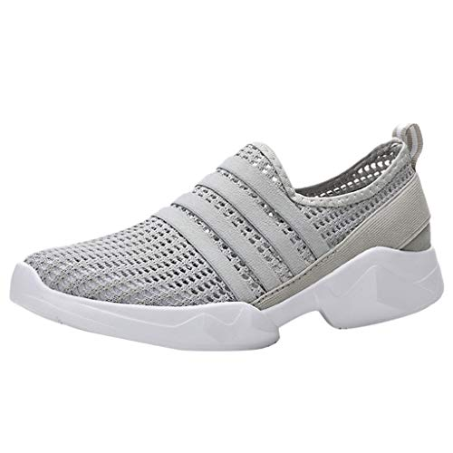 Respctful✿Casual Slip On Shoes for Women Casual Driving Flats Comfortable Mesh Hollow Out Work Shoes Gray