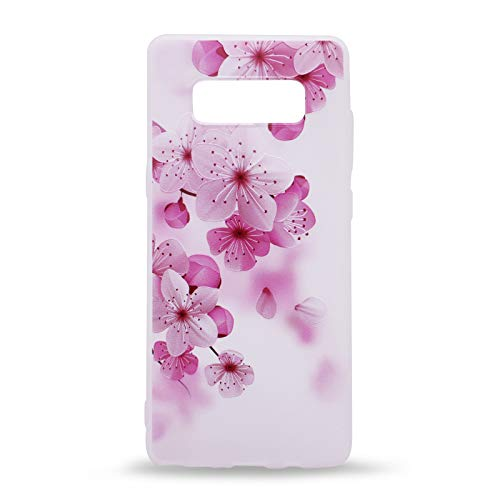 (IMIFUN 3D Relief Flower Silicon Phone Case for Samsung Galaxy Note 8 Romantic Rose Floral iPhone Cases Soft TPU Cover (Pink Flowers))